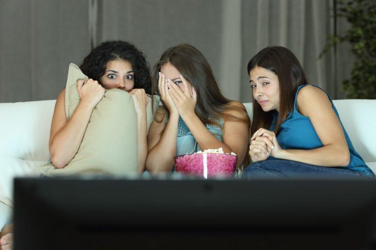 Friends having a movie night