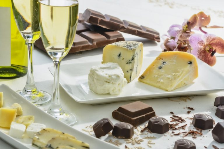 Cheese, chocolates, wine