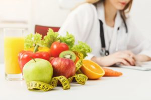 fruits, vegetables, and tape measure